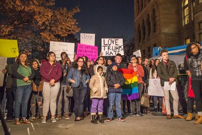 A mournful energy filled Washington Square as protestors listened for instruction on how to rally together and not work against each other. Photos: Dave Brewer & Gabe Mejia // Photo Collective Studios