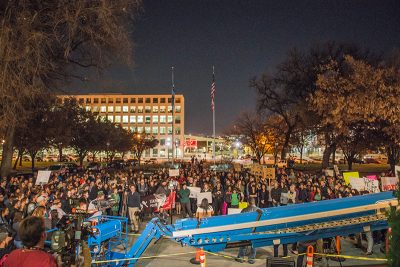Hundreds of individuals and multiple news media outlets gathered to find meaning in the chaos. Photos: Dave Brewer & Gabe Mejia // Photo Collective Studios