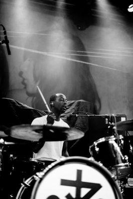 Damar Davis on drums for Zipper Club. Photo: Gilbert Cisneros