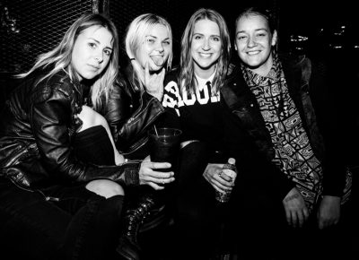 (L–R) Hannah, Carlie, Kaitlyn and Brooke enjoying some drinks before The Sounds' set. Photo: Gilbert Cisneros