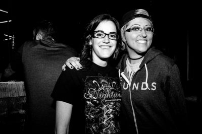 Jess and Courtney are excited for The Sounds to come on. Photo: Gilbert Cisneros