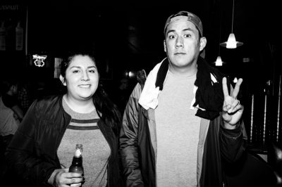 Stephanie and David waiting for The Sounds' set. Photo: Gilbert Cisneros