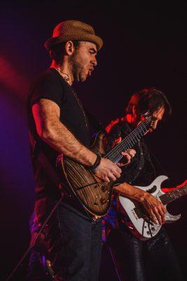 Dave Weiner performs alongside rock god Steve Vai. Photo: Talyn Sherer