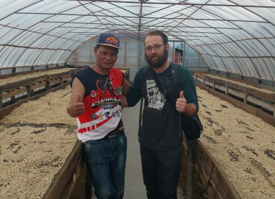 (R–L) Despain meets with Asman Arianto, a Sumatra-based grower and potential Ibis partner.