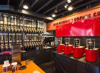 Visit Jack Mormon Coffee at 82 N. E Street, Salt Lake City.