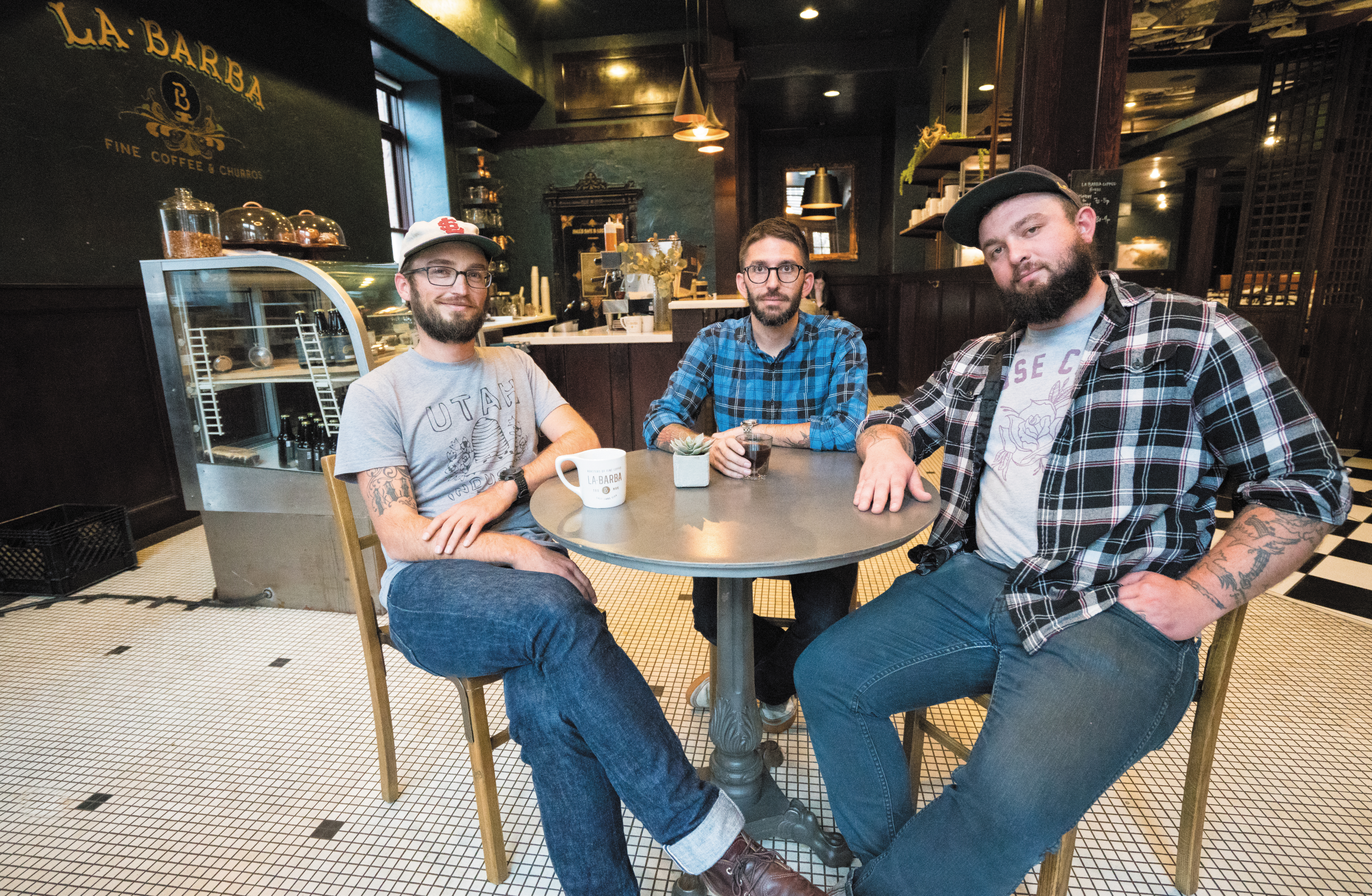 (L–R) Josh Rosenthal, Joe Evans and Levi Rogers are rounding out La Barba's wholesale roasts and specialty delights.