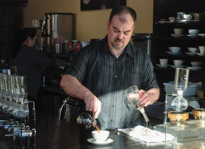 Owner and operator John Piquet brews each cup of coffee to its unique place of perfection at Caffe D'Bolla.