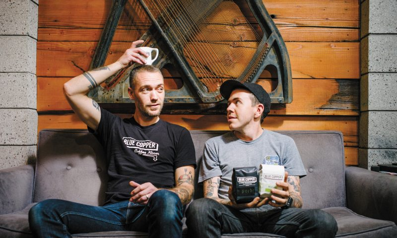(L–R) Manager WIlliam Lapthorne and Roaster Patrick Andrews have solidified their proprietary roasts as the sole coffees offered at Blue Copper Coffee Room.