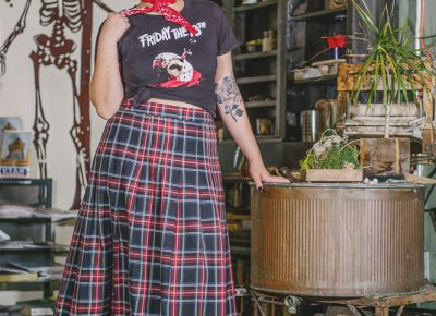 """Speaking of mixing musical interests that influence her fashion, Abujebarah says, """"I like all ranges of music, I guess. I like metal, indie, goth, punk, everything alternative—but I also like hip-hop, pop and R&B ... so I guess I just like mashing everything together into one."""" Photo: @clancycoop"""