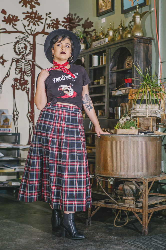 "Speaking of mixing musical interests that influence her fashion, Abujebarah says, ""I like all ranges of music, I guess. I like metal, indie, goth, punk, everything alternative—but I also like hip-hop, pop and R&B ... so I guess I just like mashing everything together into one."" Photo: @clancycoop"