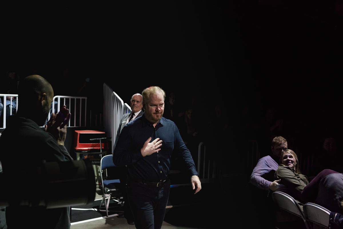 Comedian Jim Gaffigan comes out of the tunnels to take the stage. Photo: Lmsorenson.net