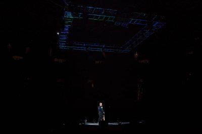 Jim Gaffigan tells audience members that it's good to be back in Salt Lake City. Photo: Lmsorenson.net