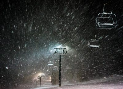 The snow picked up around 7 p.m., although the temperature remained in the 20s. Brighton received seven inches of snow Thursday night and much more over this past weekend. Photo: Jo Savage // @SavageDangerWolf