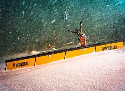 Pat Fava hits the rail at the terrain park with steez. Photo: Jo Savage // @SavageDangerWolf