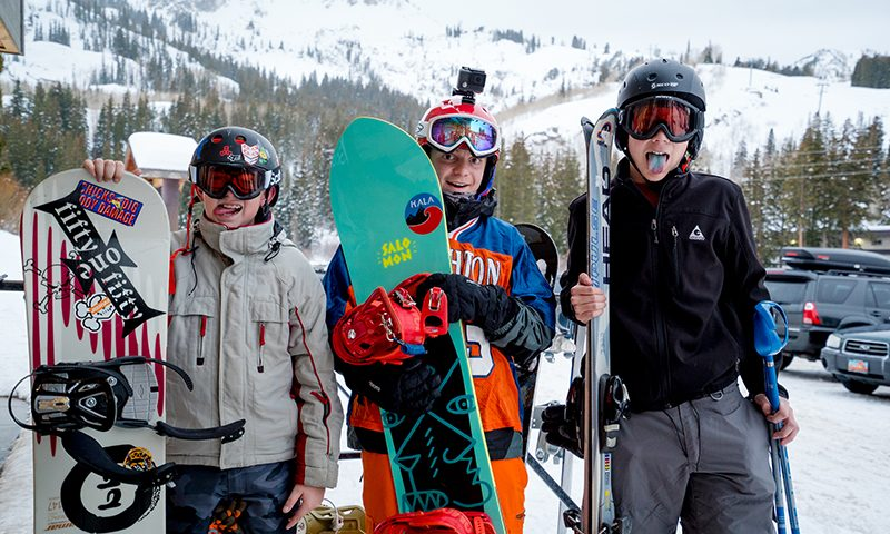 (L–R) Boston Fetherolf, Thomas Phippen and Nathan Creager were 100-percent stoked to ride on a school night. Photo: Jo Savage // @SavageDangerWolf