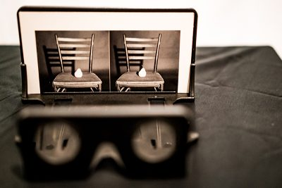 Tom Shrieve offered stereo viewers to interact with and see his photography in 3D. Photo: Jo Savage // @SavageDangerWolf