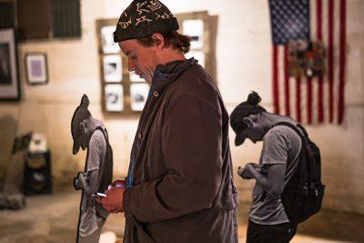 John Blume became a part of Bobby Robertson's art installation. Photo: Jo Savage // @SavageDangerWolf