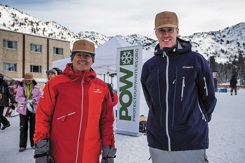 (L–R) Ski Utah President Nathan Rafferty and POW Executive Director Chris Steinkamp invite riders to carpool and use transit to help protect Utah's beautiful winters.