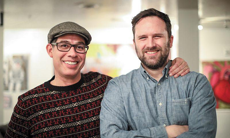 (L–R) Local artists Jorge Rojas and Casey Smith, organizers of The Huge Benefit Art Show. Photo: John Barkiple