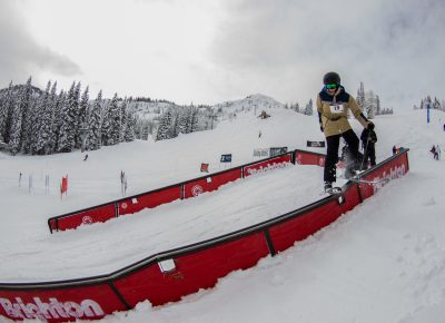 Garrett Calaway 3rd place 17 & under mens ski rail slide. Photo CJ Anderson