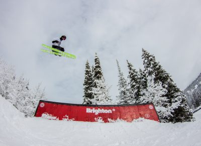 Ian Russel 3rd place mens open ski flying off the jump. Photo: CJ Anderson