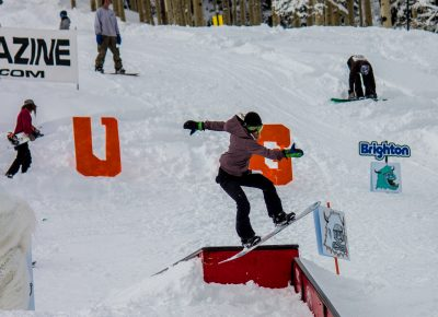 Rachel Westcott 3rd place womens open snow 50-50 to front lip. Photo: CJ Anderson