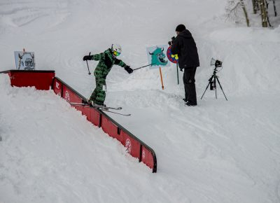 Alex Mallen 2nd place 17 & under mens ski rail slide. Photo: CJ Anderson