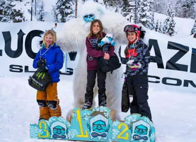 Women's 17 and under snow winners. Gwennie Park (3rd), Mattie Neves (1st), Sophie Neves (2nd). Photo: Jo Savage // @SavageDangerWolf