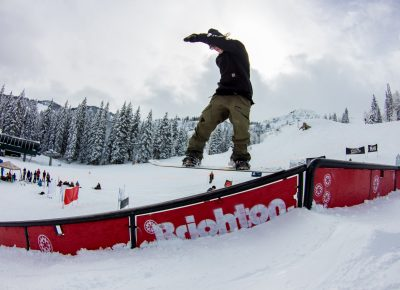Jeff Hopkins 2nd place mens open snow rail slide Photo: CJ Anderson