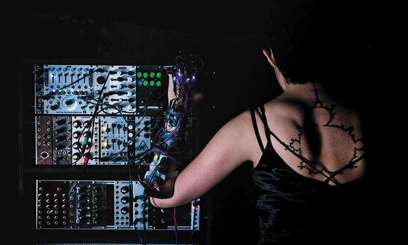Autumn Rogers, aka 80KV, created motion-controlled gloves as a novel foray into technology and haunting, contemporary electronic music. Photo: LmSorenson.net