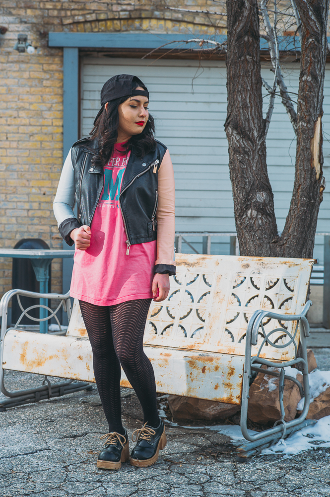 """I'm really inspired by the classic, Chicana look with the hoop earrings and the red lipstick and the eyeliner and all of that stuff,"" says Velasquez. ""I don't incorporate it into my style as much as I want to, but that does inspire me a lot—bright colors and things like that."" Photo: @clancycoop"