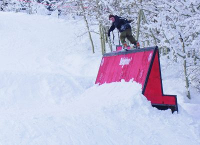 eff Hopkins, Men's Open Snow 2nd place, Backside lipslide 270 fakie. Photo: Chris Kiernan