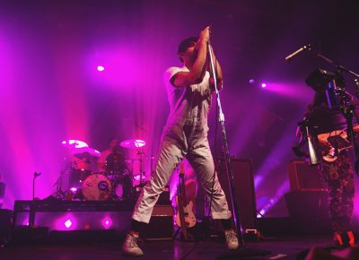 Young the Giant lead singer, Sameer Gadhia, is never shy about striking a pose. Photo: Talyn Sherer.