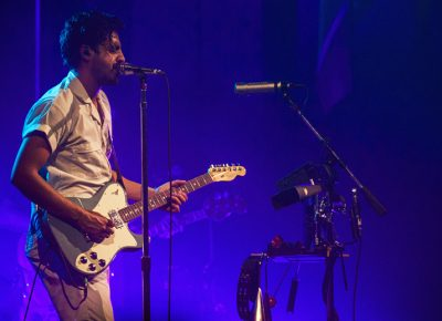 Sameer Gadhia of Young the Giant wears his emotions on his sleeve as they perform a track off of their latest album, Home of the Strange. Photo: Talyn Sherer.