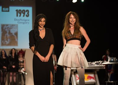 (L–R) Designer DesNeiges Gregory and model Dani Bruan of House of DesNeiges. Photo: Ryan Houston