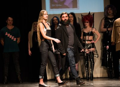 (L–R) Model Vanessa Meier and designer Danny Nappi of Nappi. Photo: Ryan Houston