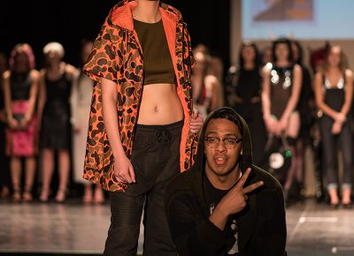 (L–R) Model Alyssa Walters and designer Robin Uata of Kuya. Photo: Jacob Eveler