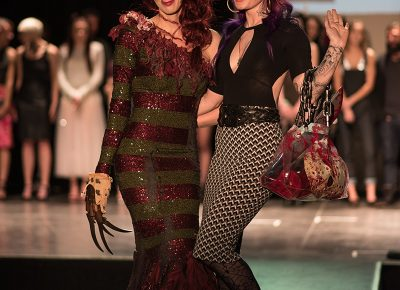 (L–R) Model Nikie Gerber and designer Andrea Hansen of Pretty Macabre. Photo: Jacob Eveler