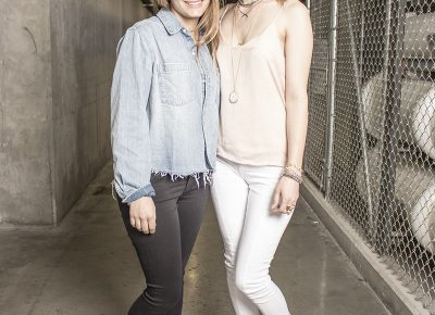 (L–R) Designer Katie Waltman and model Chelsea Harrocks of Katie Waltman Jewelry. Photo: Jake Vivori