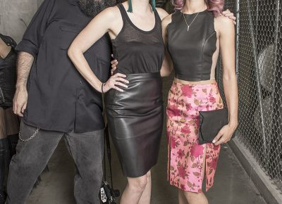 (L–R) SLUG photographer Gil Garcia (ThatGuyGil) and designer Andrea Black and model Alexa McPherson of Elizabeth Jane. Photo: Jake Vivori