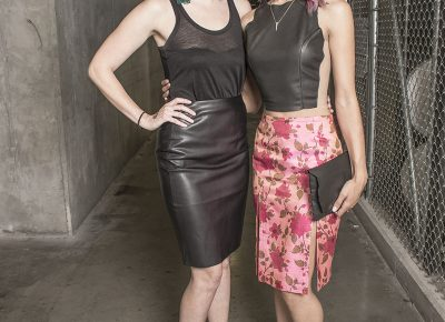 (L–R) Designer Andrea Black and model Alexa McPherson of Elizabeth Jane. Photo: Jake Vivori