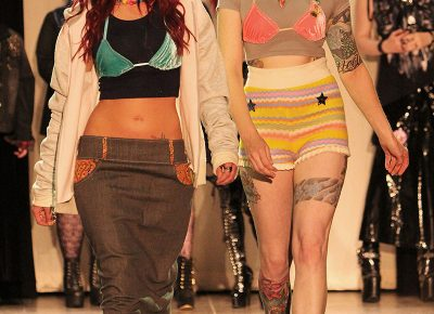 (L–R) Model Guinevere Simpson and designer Ingrid Kapfhammer. Photo: Robert Hirschi