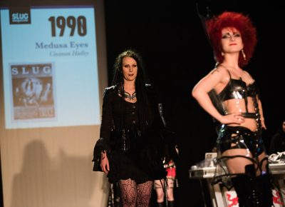 (L–R) Designer Cinamon Hadley and model Nyx of Medusa Eyes. Photo: Ryan Houston