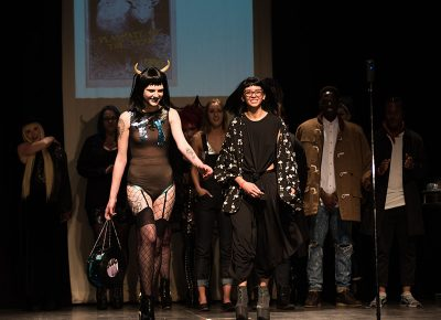 (L–R) Model Marina Hayes and designer Kimberly Dunn of Dianne De Vil. Photo: Ryan Houston