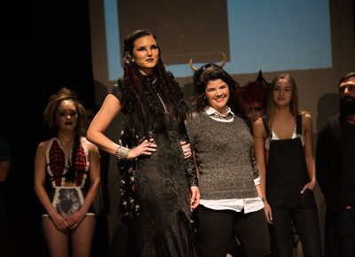 (L–R) Model Emi Sorenson and designer Rebecca Richards Fenton of Haunted Head Fashion. Photo: Ryan Houston
