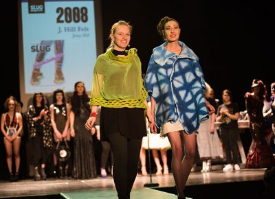 (L–R) Designer Kelsey Perkins and model Jenny Hill of J. Hill Felt. Photo: Ryan Houston