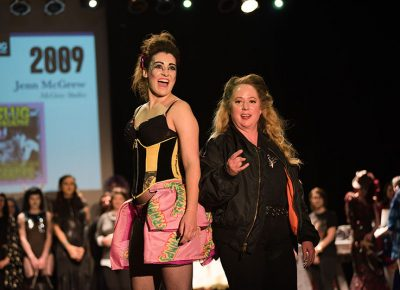 (L–R) Model Yazmine Tatiana Baker and designer Jenn McGrew of McGrew Studios. Photo: Ryan Houston