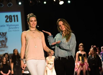 (L–R) Model Chelsea Harrocks and designer Katie Waltman of Katie Waltman Jewelry. Photo: Ryan Houston