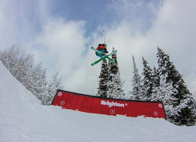 Luke Mallen, 1st place Men's Under 17 Ski, flying with his skies crossed. Photo: Jo Savage // @SavageDangerWolf