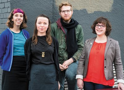 (L–R) Juli Huddleston, Natalie Allsup-Edwards, Timothy Burton Guthrie and Bonnie Cooper of Grid Zine Fest.